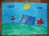 Painéis Solares | 1.º e 2.º ano - André (6 anos), Clara (6 anos), Daniela (6 anos), Duarte (6 anos), Fabiana (6 anos), Francisco (7 anos), João (7 anos), Pedro (7 anos), Simão (6 anos), Teresa (6 anos) (Colégio Vizela, Vizela)